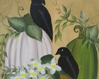 Crows And Pumpkins On Artist Canvas