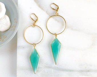 Statement Earrings with Aqua Chalcedony Shield and Hoops. Long Stone Earrings. Gold Statement Earrings. Jewelry Gift.