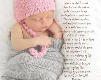 Grandmas First Mother's Day Gift Personalized Poem  8x10/11x14  Poetry Print