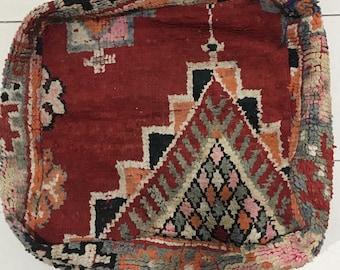Moroccan Vintage Boujaad Rug Pouf Floor Cushion