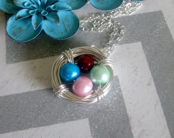 Custom Birds Nest Pearl Birthstone Necklace