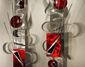 Set of 2 Metal Wall Art Abstract Wall Sculptures Decor, Design by Alex Kovacs - AK366