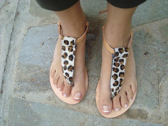 Brown Sandals Thong Ankle Animal Sandals Sandal Grecques Sandales Greek Sandals Thong Thong Leather Eurydike Sandals Print gIxCw7wq