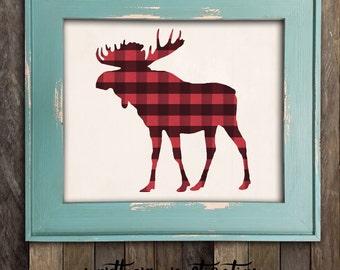 Moose Head Print, Buffalo Plaid Rustic Decor, Antlers Nursery, Lumberjack Nursery, Moose Print, Cabin Decor, Hunting Decor, Woodland Nursery