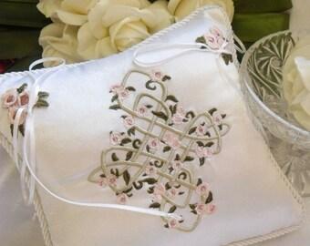 Celtic Cross Knot Embroidered Ringbearer Ring Pillow