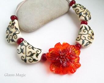 Orange Flower set of lampwork beads, glass beads, murano glass, flamework, jewelry making, handmade beads, glass flower, ivory, crimson
