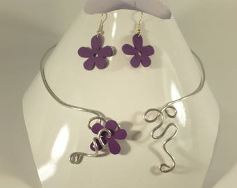 aluminum wire and flower set violet wood