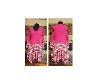 Boho HIppie Tunic Dress Womens Lagenlook Hippie Clothes Anthropolgie Style Upcycled Clothing Womens Large