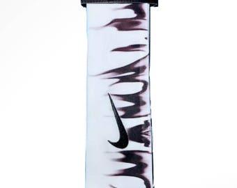 Custom Monotone Black Flames Nike Dri-Fit Head Tie Headband - Black, White,