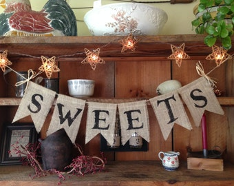 Sweets Banner, Dessert Table Banner, Wedding Banner, Wedding Photo Prop, Country Wedding, Upper Case Mr. & Mrs. Bunting, Dessert Bunting