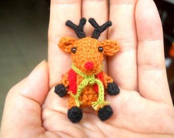 Mini Reindeer - Crochet Miniature Stuffed Animals - Made To Order