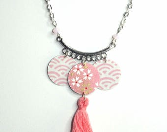 Necklace light pink Japanese paper