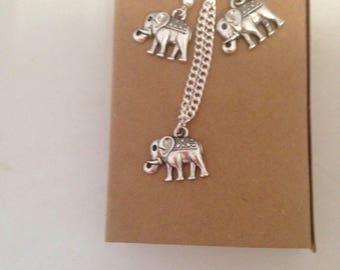 Elephant Charm Jewellery Gift, Indian Elephant Dangle Earrings, Elephant Pendant Necklace, Mothers Day, Valentines Day Ladies Jewellery,