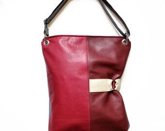 Womens Leather Laptop Bag, Crossbody Shoulder Work Purse, Business Carryall Handbag Adjustable Strap - The Luella in Raspberry and Burgundy