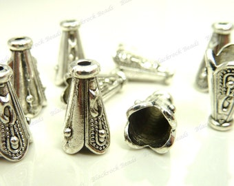 10 Bead Cap Cones 12x7mm Antique Silver Tone Metal - Carved Pattern, Scalloped Edges - BC33