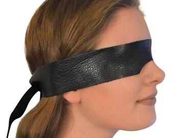 Genuine Calfskin Leather Blindfold / Eye Mask