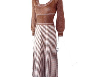 Vintage 70s Wenjilli Copper Silver Metallic Knit Striped Acrylic Sweater Maxi Dress// Knit Disco Maxi Dress // Size 5-6 // 147