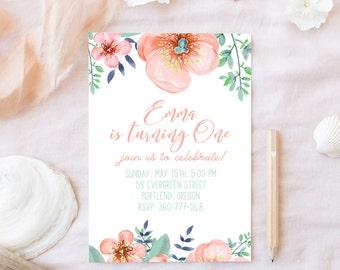 First Birthday Invitation - Girl First Birthday Invite, 1st Birthday, Printable Birthday Party Invitation, Watercolor Floral Invitation, 5x7