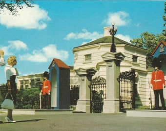 Vintage 1970s Postcard Ottawa Ontario Canada Governor General Government Residence Guards Beefeaters Architecture Photochrome Postmarked