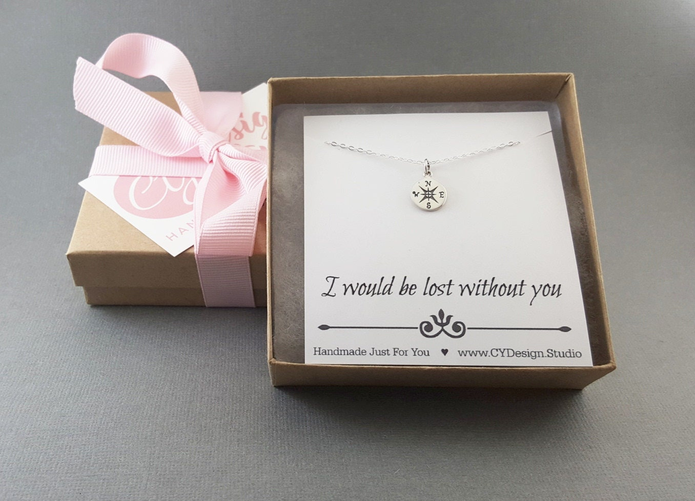 Lost Without You Silver Compass Necklace Traveler Charm