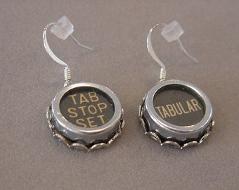 Black Typewriter Key Earrings TABULAR and TAB STOP Set Aged Glass Covered Typewriter key Jewelry Recycled earrings steampunk