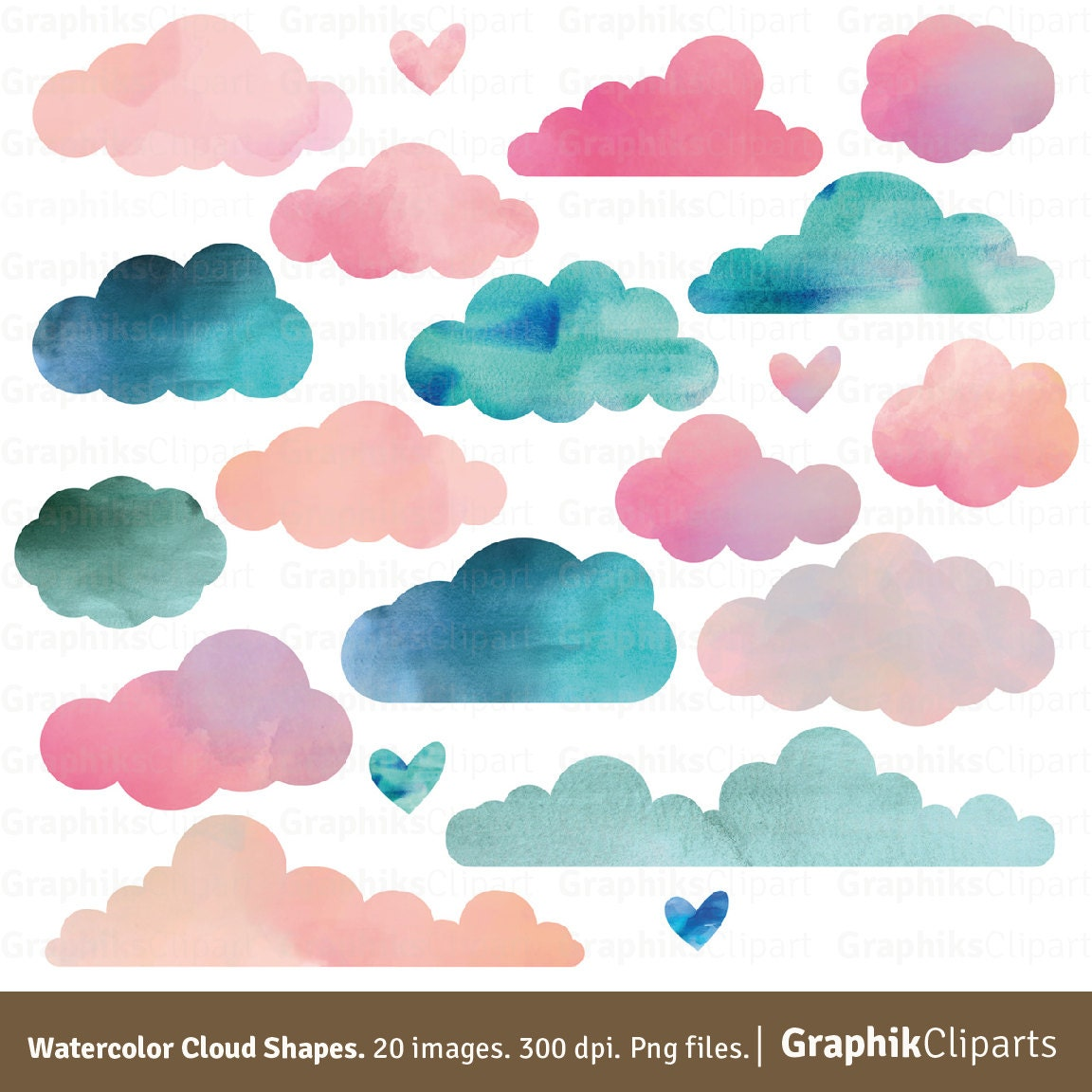 Watercolor clouds shapes clouds clipart watercolor clipart zoom filmwisefo