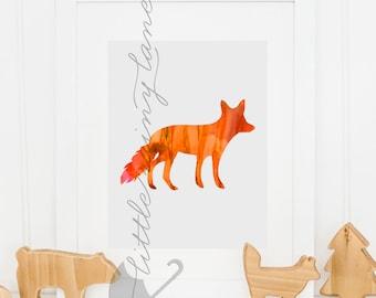 Fox print - fox art - nursery decor - nursery animal prints