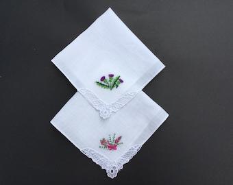 Vintage Scottish Heather & Thistle Handkerchiefs