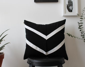 Upcycled Black and White Cushion Cover