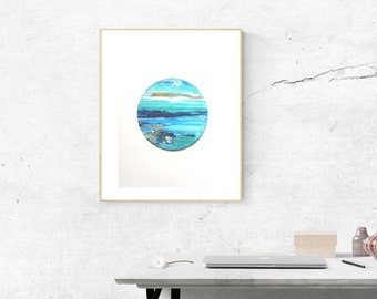 Abstract Landscape Painting Round Canvas Board 8'' Circle Original Landscape Art / Blue Dusk Horizon Abstract Acrylic Painting