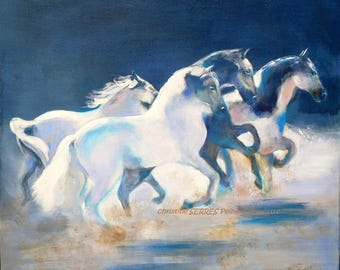 white horses galloping in the night - original painting on canvas - blue color