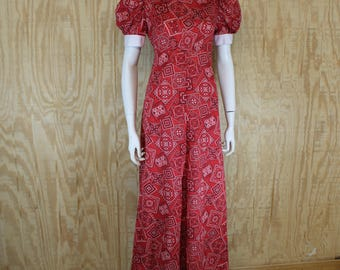 Vintage 1960's Home Made Red / White Cotton Bandanna Print Peter Pan Collar Empire Maxi Dress