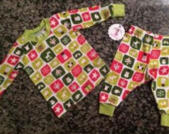 christmas pajamas - 6/12 month - baby holiday pjs - infant sleep set - holiday set -snowman set -soft baby pajamas - christmas tree set star