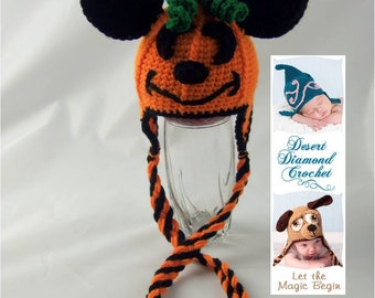 Mouse O' Lantern Pumpkin Earflap Hat - Any Size
