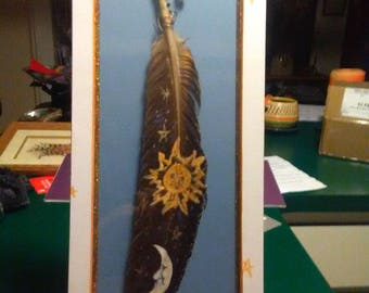Sun and Moon Hand painted Feather matted