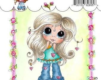 My-Besties Clear Rubber Stamp Big Eye Besties Big Head Dolls Blue Jean Baby  MYB-0175   By Sherri Baldy