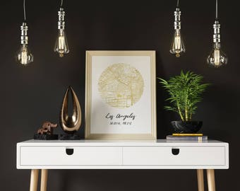 Los Angeles Street Map, Gold Foil, 11x14 Poster, Wall Art, Home Decor
