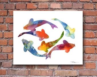 Koi Fish Art Print - Abstract Watercolor Painting - Wall Decor