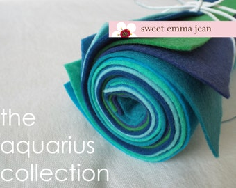 9x12 Wool Felt Sheets - The Aquarius Collection - 8 Sheets of Wool Blend Felt