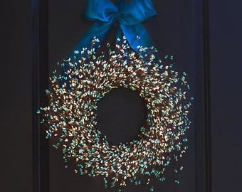 Teal and Ivory Wreath - Winter Wreath - Christmas Wreath - Winter Berry Wreath - Blue Christmas Wreath - Holiday Wreath - Berry Wreath