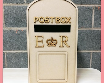X Large PERSONALISED Wedding Post Box, Party, Royal Mail Style - Flat Pack, Ready to Build & Decorate - POSTBOX for Cards