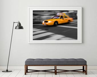 Yellow Cab Print, Yellow Taxi Art, New York Yellow Taxis, New York Taxi Print, New York Photography Print, Blurred Photo Art, Color Splash