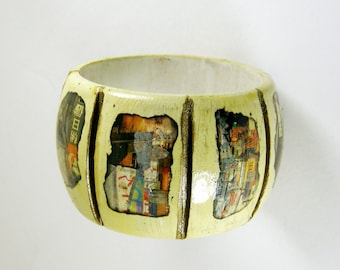 Bangle Bracelet, Collaged Bracelet, Cream and Gold, Wooden, Art Jewelry, Distressed Jewelry, Bohemian Jewelry, Aged Jewelry, Wood Bracelet