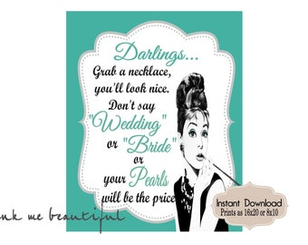DIGITAL FILE Grab a Necklace Don't Say Wedding,  Bride and CO,   Bridal Shower, Welcome Sign, Bridal Shower Games