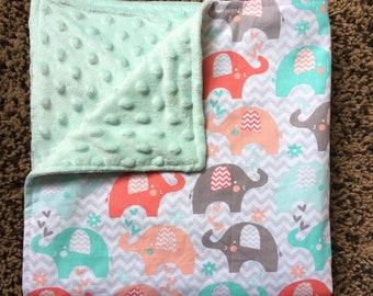 Elephant minky baby blanket