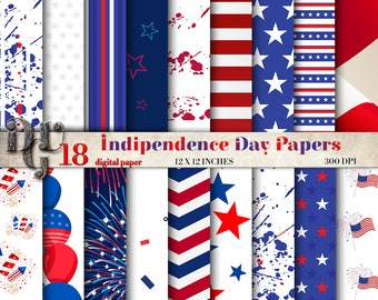 4th of July Digital Papers Pack Independence day digital papers stars and stripes red and blue 18 Scrapbooking Paper Crafts background 013