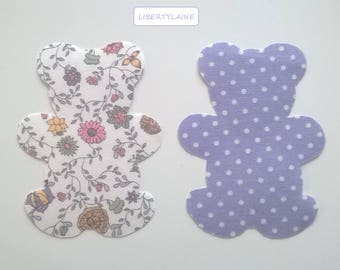 Applied two seconds large bears fabric purple with polka dots and liberty