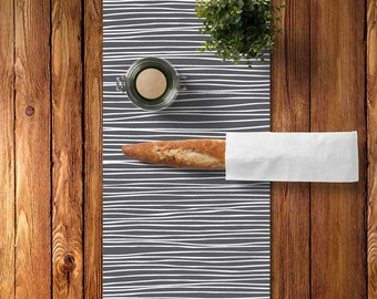 45 colors Stripes Table Runner, Cotton Twill Table Runner, Grey Table Runner, Minimalist Table Runner Kitchen Decor, Modern Table Runner