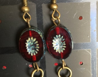 Red table cut Picasso Czech bead and red Swarovski crystal pearls earrings