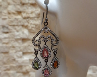 Oxidized Sterling Silver earrings with colored Tourmaline's and pave CZ